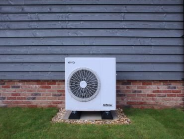 Air source heat pump outside house